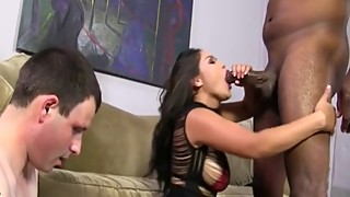 Bossy asian makes her husband watch her fuck bbc