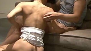 Asian wife shared  creampied and let her suck it dry
