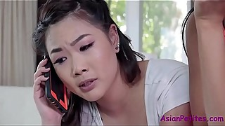 Teaching SISTER to suck her WHITE BF- Ember Snow &amp_ Kaya Lin