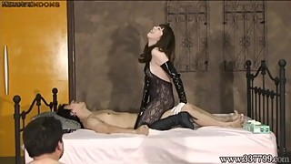 Japanese mistress makes the cuck suck on a used condom